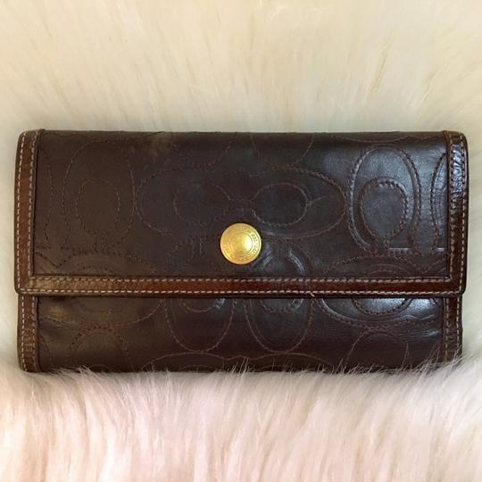 Coach COACH Rare Signature Stitched Trifold Clutch Wallet DARK BROWN LEATHER Image 3