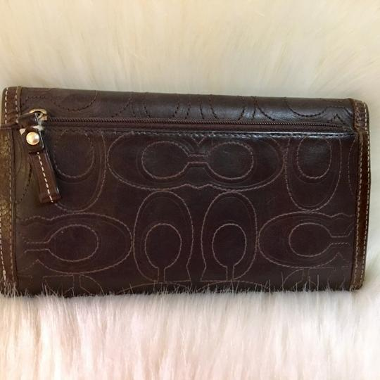 Coach COACH Rare Signature Stitched Trifold Clutch Wallet DARK BROWN LEATHER Image 4