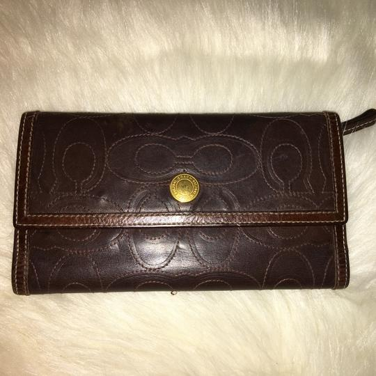 Coach COACH Rare Signature Stitched Trifold Clutch Wallet DARK BROWN LEATHER Image 7