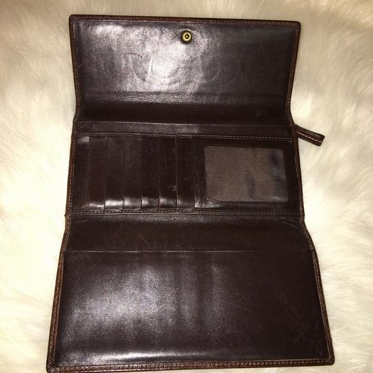 Coach COACH Rare Signature Stitched Trifold Clutch Wallet DARK BROWN LEATHER Image 8