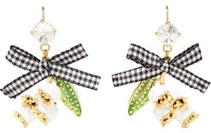 Miu Miu Miu Miu Gold-Tone Crystal, Enamel and Canvas Earrings