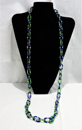 Chanel RARE Vintage 1950/60's Chanel Blue & Green Murano Necklace Image 1