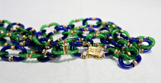 Chanel RARE Vintage 1950/60's Chanel Blue & Green Murano Necklace Image 2