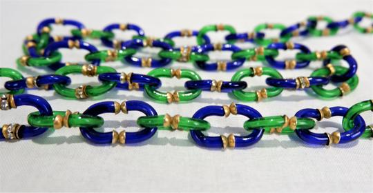 Chanel RARE Vintage 1950/60's Chanel Blue & Green Murano Necklace Image 3