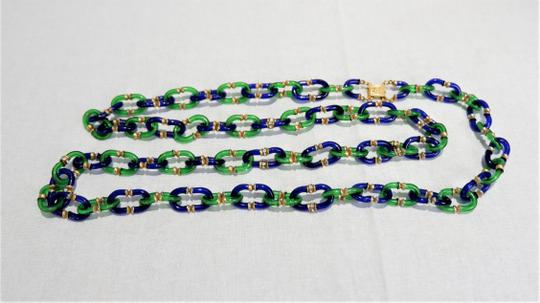 Chanel RARE Vintage 1950/60's Chanel Blue & Green Murano Necklace Image 4