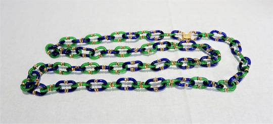 Chanel RARE Vintage 1950/60's Chanel Blue & Green Murano Necklace Image 5