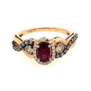 LeVian 14k LeVian Raspberry Garnet Diamond Ring