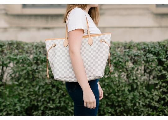 Louis Vuitton Vintage Studded Leather Monogram Tote in White Image 8