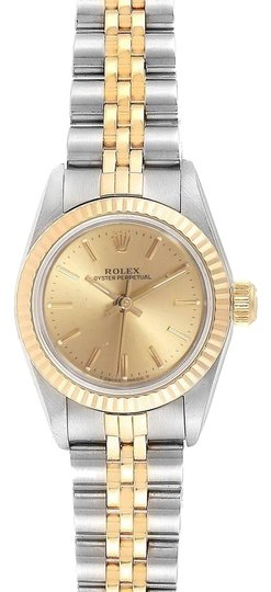 Preload https://img-static.tradesy.com/item/26131126/rolex-champagne-oyster-perpetual-24mm-steel-yellow-gold-ladies-67193-watch-0-3-540-540.jpg