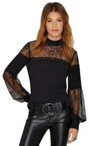 Nasty Gal Tops Lace To The Finish Top Black