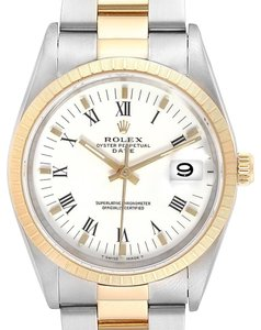 Rolex Rolex Date Mens Steel 18k Yellow Gold White Dial Mens Watch 15223
