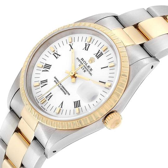 Rolex Rolex Date Mens Steel 18k Yellow Gold White Dial Mens Watch 15223 Image 4
