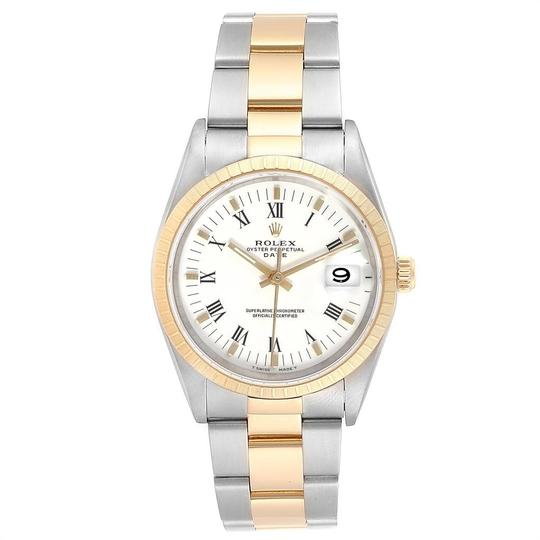 Rolex Rolex Date Mens Steel 18k Yellow Gold White Dial Mens Watch 15223 Image 1