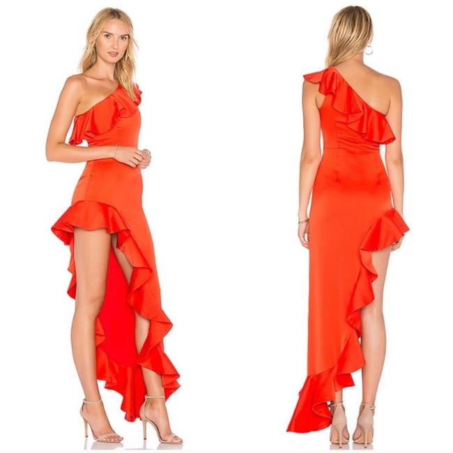 Lovers + Friends Ruffle Gown One Shoulder Dress Image 1