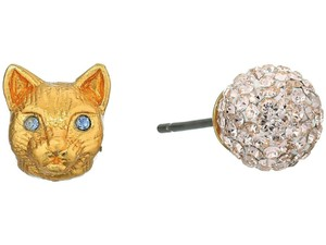 Kate Spade Kate Spade House Cat & Pave Mismatched Gold Stud Earrings