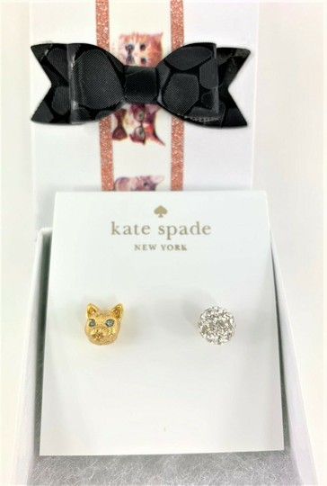Kate Spade Kate Spade House Cat & Pave Mismatched Gold Stud Earrings Image 1
