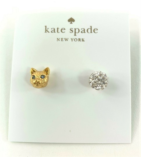 Kate Spade Kate Spade House Cat & Pave Mismatched Gold Stud Earrings Image 2