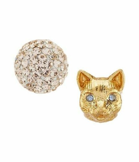 Kate Spade Kate Spade House Cat & Pave Mismatched Gold Stud Earrings Image 3