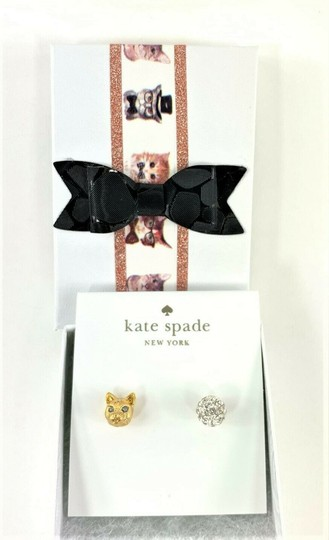 Kate Spade Kate Spade House Cat & Pave Mismatched Gold Stud Earrings Image 4