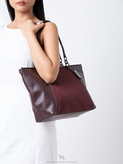 Coach New Ava Chainlink Shoulder Tote in Oxblood- Antique SV Image 1