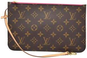 Louis Vuitton Lv Pochette Monogram Mono Hot Pink Interior Wristlet