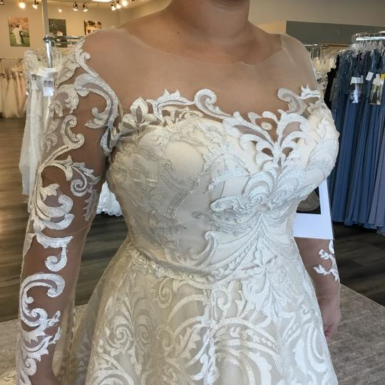 Casablanca Couture Vintage Gold/Silver Embroidered Lace/Duchess Satin C137 Gemma Formal Wedding Dress Size 12 (L) Image 1