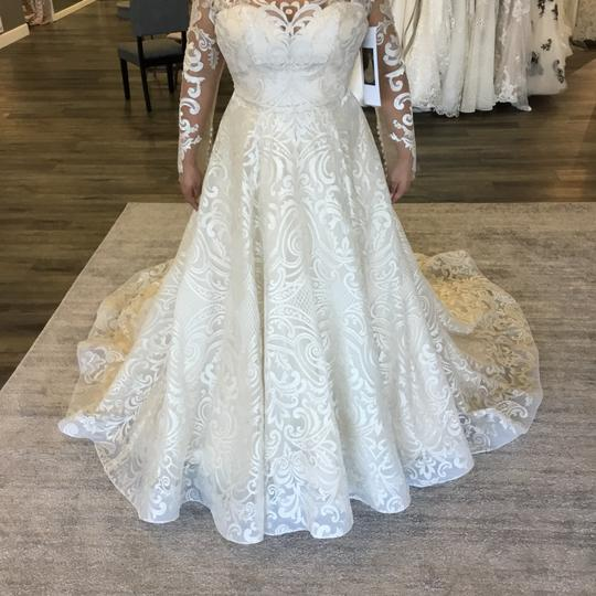Casablanca Couture Vintage Gold/Silver Embroidered Lace/Duchess Satin C137 Gemma Formal Wedding Dress Size 12 (L) Image 3