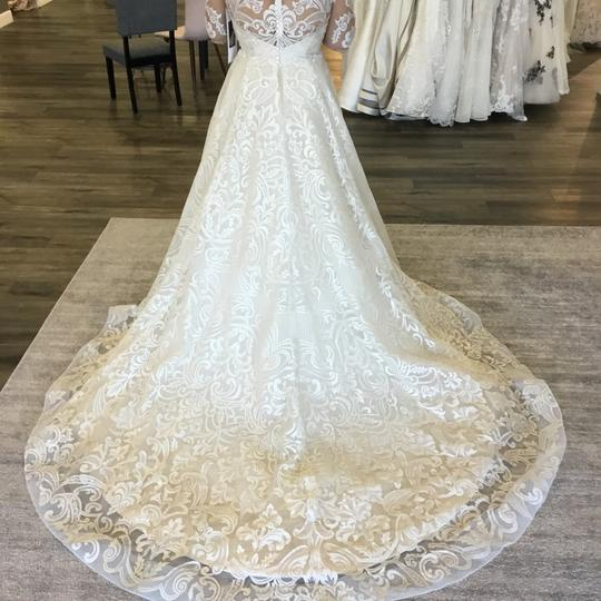 Casablanca Couture Vintage Gold/Silver Embroidered Lace/Duchess Satin C137 Gemma Formal Wedding Dress Size 12 (L) Image 4