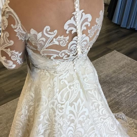 Casablanca Couture Vintage Gold/Silver Embroidered Lace/Duchess Satin C137 Gemma Formal Wedding Dress Size 12 (L) Image 5