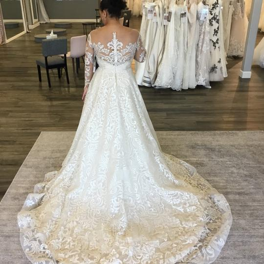 Casablanca Couture Vintage Gold/Silver Embroidered Lace/Duchess Satin C137 Gemma Formal Wedding Dress Size 12 (L) Image 8