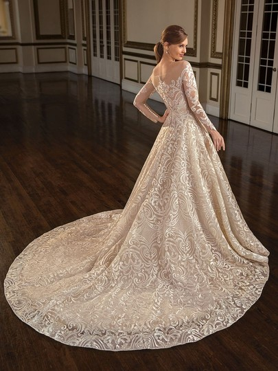 Casablanca Couture Vintage Gold/Silver Embroidered Lace/Duchess Satin C137 Gemma Formal Wedding Dress Size 12 (L) Image 9