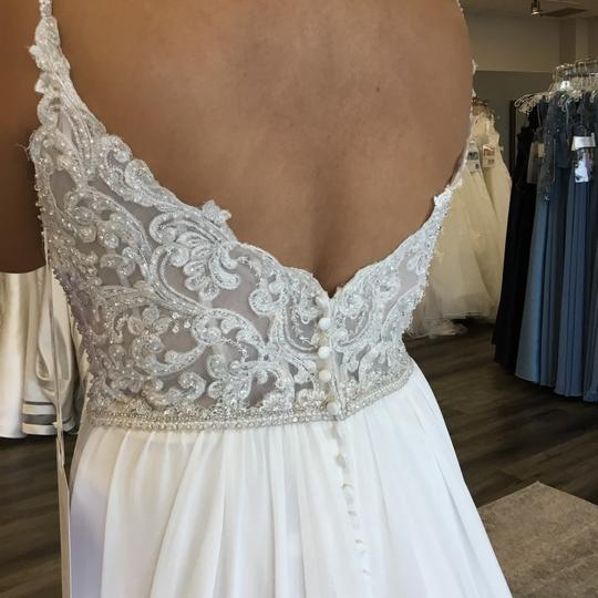 Allure Bridals Sand/Champagne/Ivory/Silver Chiffon 3207 Feminine Wedding Dress Size 14 (L) Image 4
