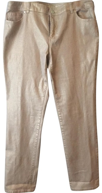 Item - Gold Metallic Coated Straight Leg Jeans Size 10 (M, 31)