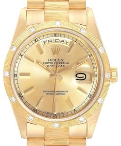 Rolex Rolex President Day-Date Yellow Gold Diamond Mens Watch 18308 Box Pape