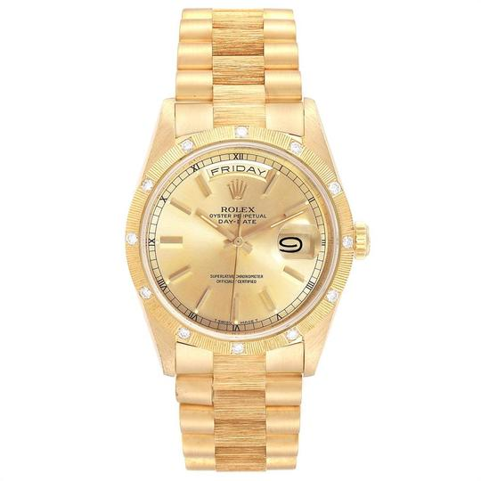 Rolex Rolex President Day-Date Yellow Gold Diamond Mens Watch 18308 Box Pape Image 1