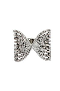 Ocean Fashion Sparkling silver crystal butterfly powder ring
