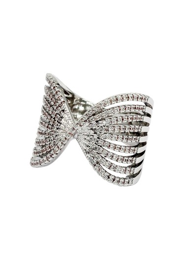 Ocean Fashion Sparkling silver crystal butterfly powder ring Image 2