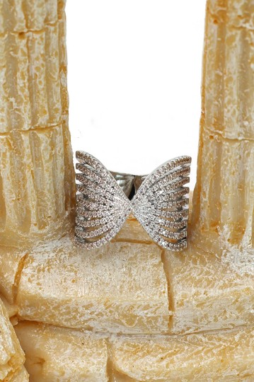 Ocean Fashion Sparkling silver crystal butterfly powder ring Image 4