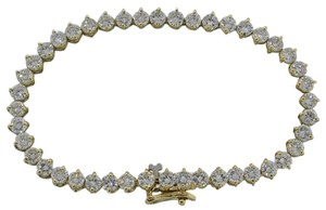 Handmade Vintage Solid 14k Yellow Gold 6.53ct G-H VS Diamond Tennis Bracelet