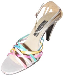 Mario Valentino Chic And Edgy Strappy Style Heels Ankle Strap Buckle New Old Stock Rare Vtg silver pinks gold teal purples Pumps