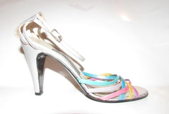 Mario Valentino Chic And Edgy Strappy Style Heels Ankle Strap Buckle New Old Stock Rare Vtg silver pinks gold teal purples Pumps Image 1