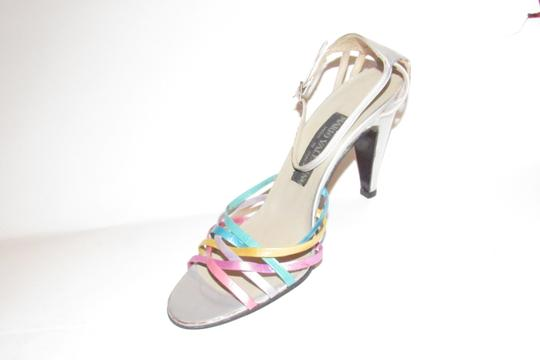 Mario Valentino Chic And Edgy Strappy Style Heels Ankle Strap Buckle New Old Stock Rare Vtg silver pinks gold teal purples Pumps Image 3