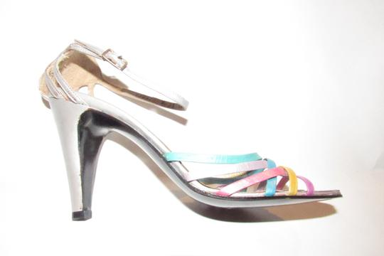 Mario Valentino Chic And Edgy Strappy Style Heels Ankle Strap Buckle New Old Stock Rare Vtg silver pinks gold teal purples Pumps Image 4