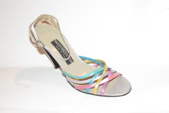 Mario Valentino Chic And Edgy Strappy Style Heels Ankle Strap Buckle New Old Stock Rare Vtg silver pinks gold teal purples Pumps Image 5
