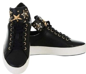 Michael Kors Mindy Sneaker Leather Star Sneakers Black/Gold Athletic