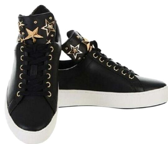 Michael Kors Mindy Sneaker Leather Star Sneakers Black/Gold Athletic Image 0