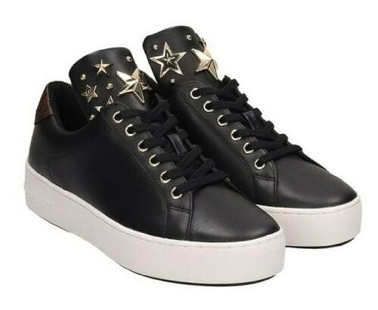 Michael Kors Mindy Sneaker Leather Star Sneakers Black/Gold Athletic Image 1