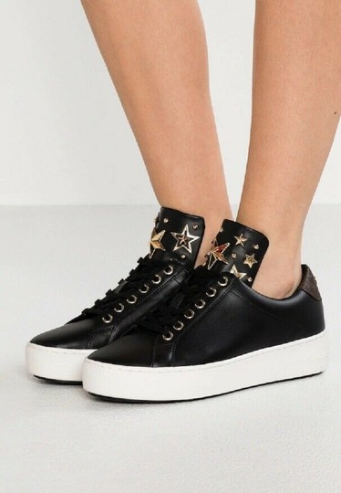 Michael Kors Mindy Sneaker Leather Star Sneakers Black/Gold Athletic Image 2