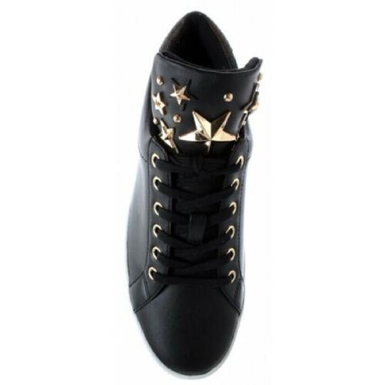 Michael Kors Mindy Sneaker Leather Star Sneakers Black/Gold Athletic Image 3