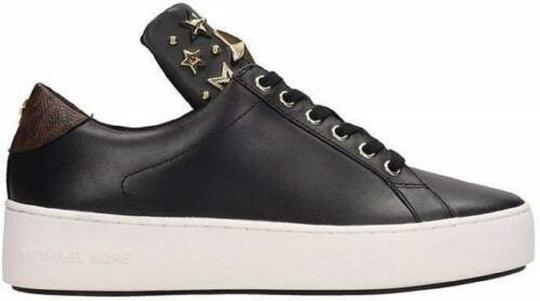 Michael Kors Mindy Sneaker Leather Star Sneakers Black/Gold Athletic Image 4